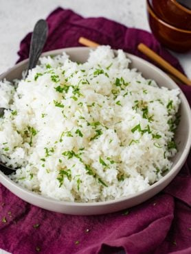 a dish of long grain white rice