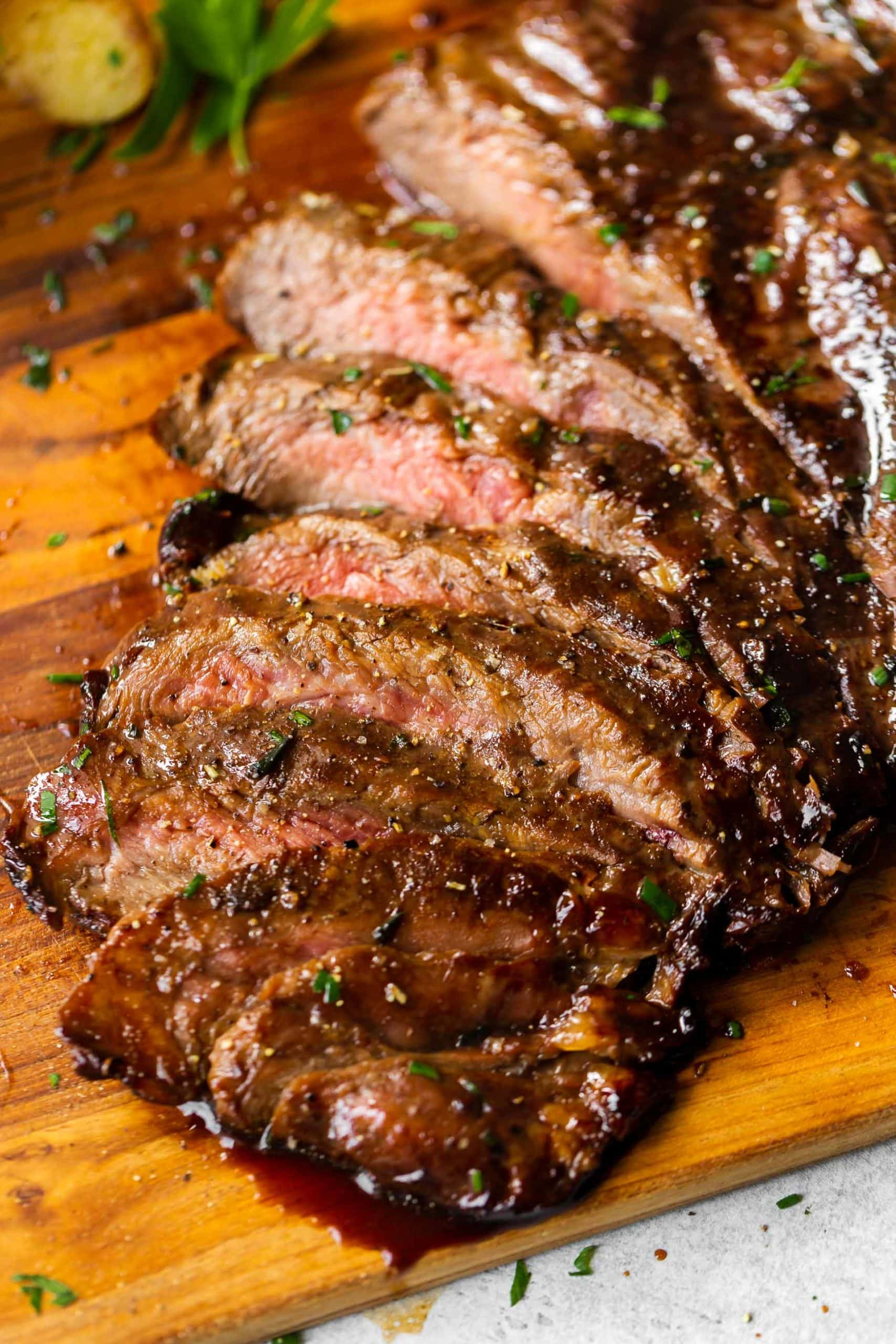 thinly sliced flank steak that marinated in a balsamic marinade all day