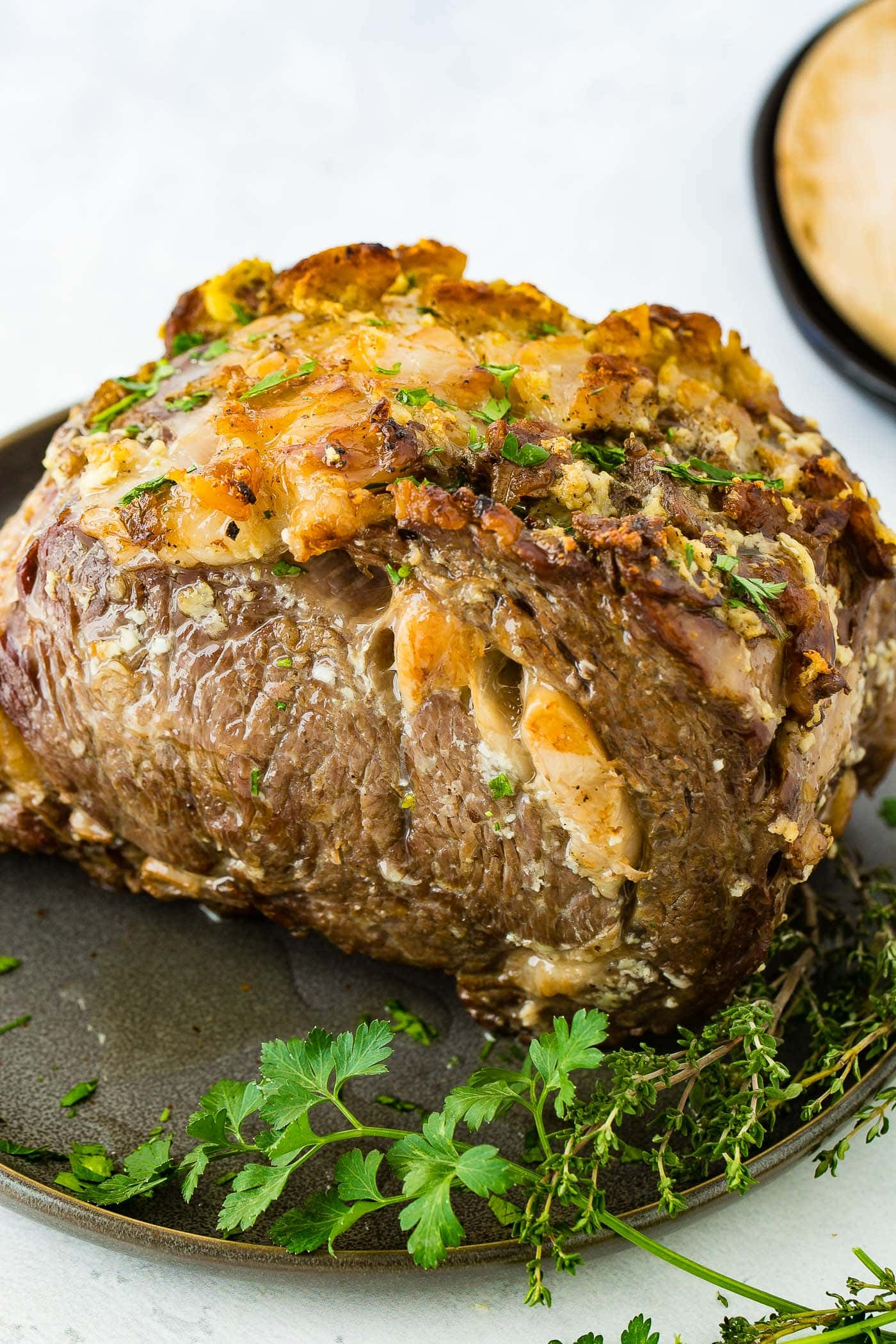 A photo of a cooked instant pot prime rib roast.