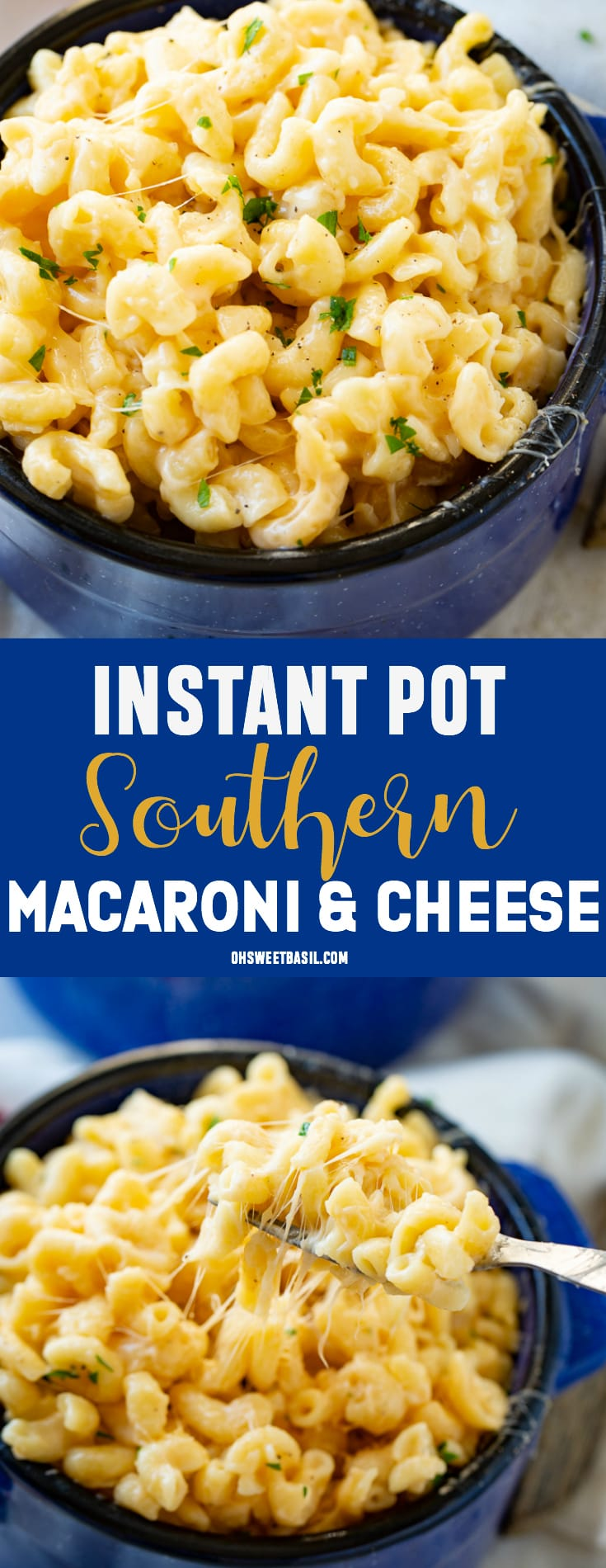 an instant pot full of creamy, cheesy instant pot macaroni and cheese