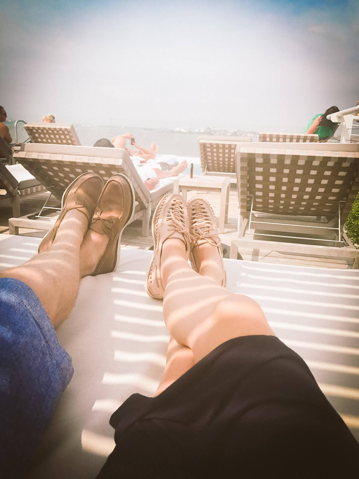 JW Marriott Rooftop pool with sperry boat shoes, the most comfortable shoes EVER ohsweetbasil.com