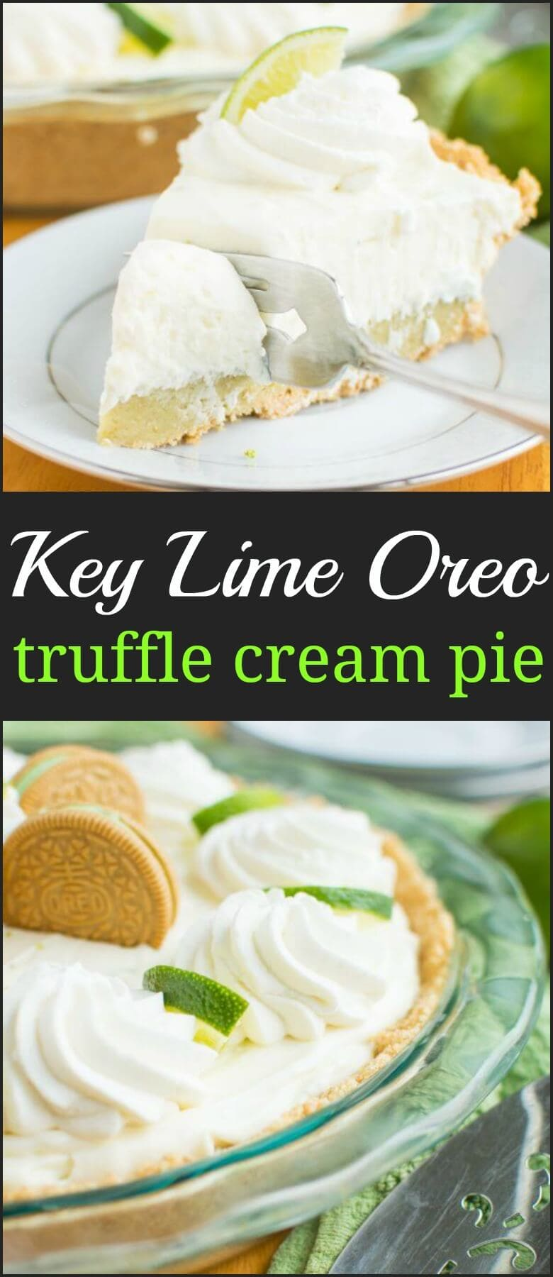 It's here! Key Lime Oreo Truffle Cream Pie. A no-bake pie that starts with a graham cracker crust filled with a layer of rich Key Lime Oreo truffle filling and a layer of tangy white chocolatey mousse filling!