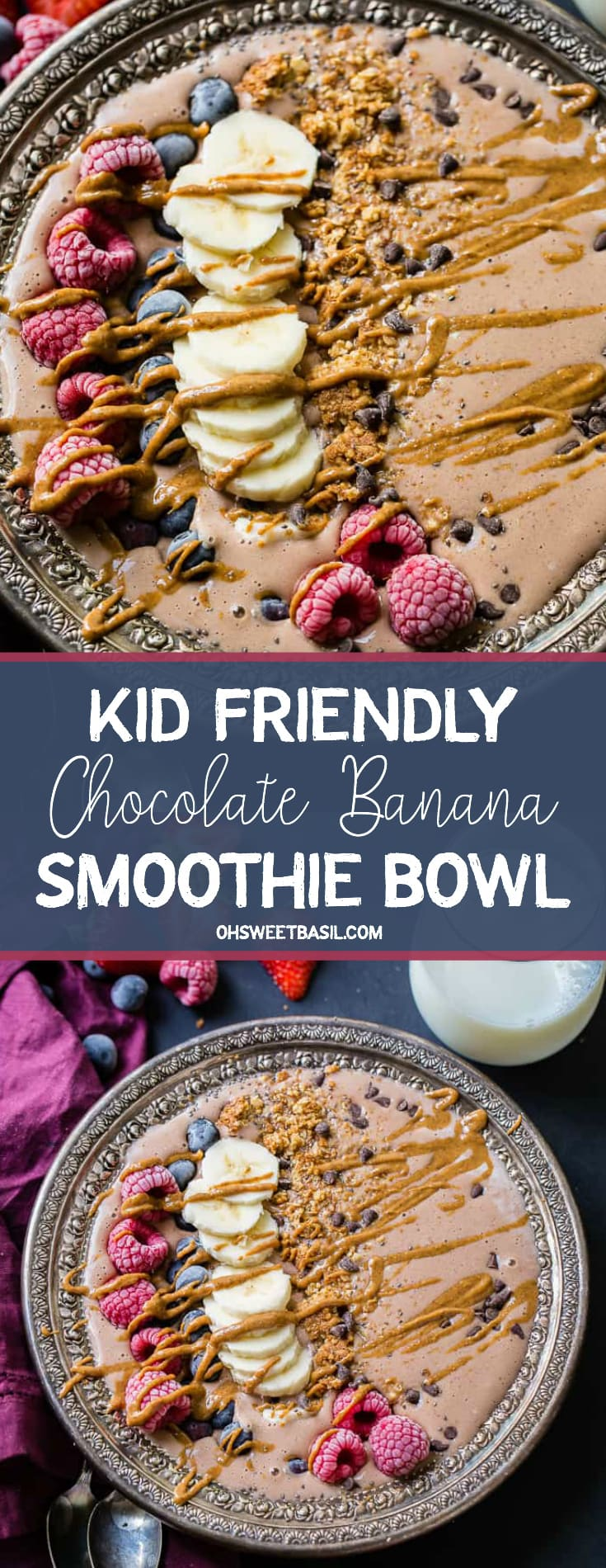 a black board with a purple napkin nestled next to a vintage silver bowl and two vintage silver spoons. A chocolate smoothie with raspberries, bananas, blueberries, granola and chocolate chips all drizzled with peanut butter and a glass of milk behind it.