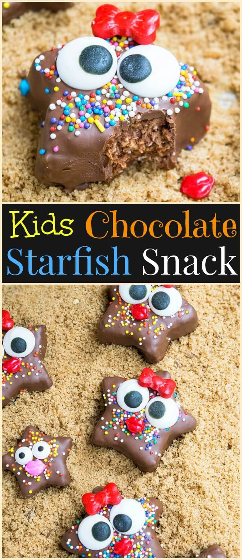 This cute kids chocolate starfish snack requires no baking and is made with healthy ingredients. It's a fun and easy activity to do with kids in the kitchen. ohsweetbasil.com