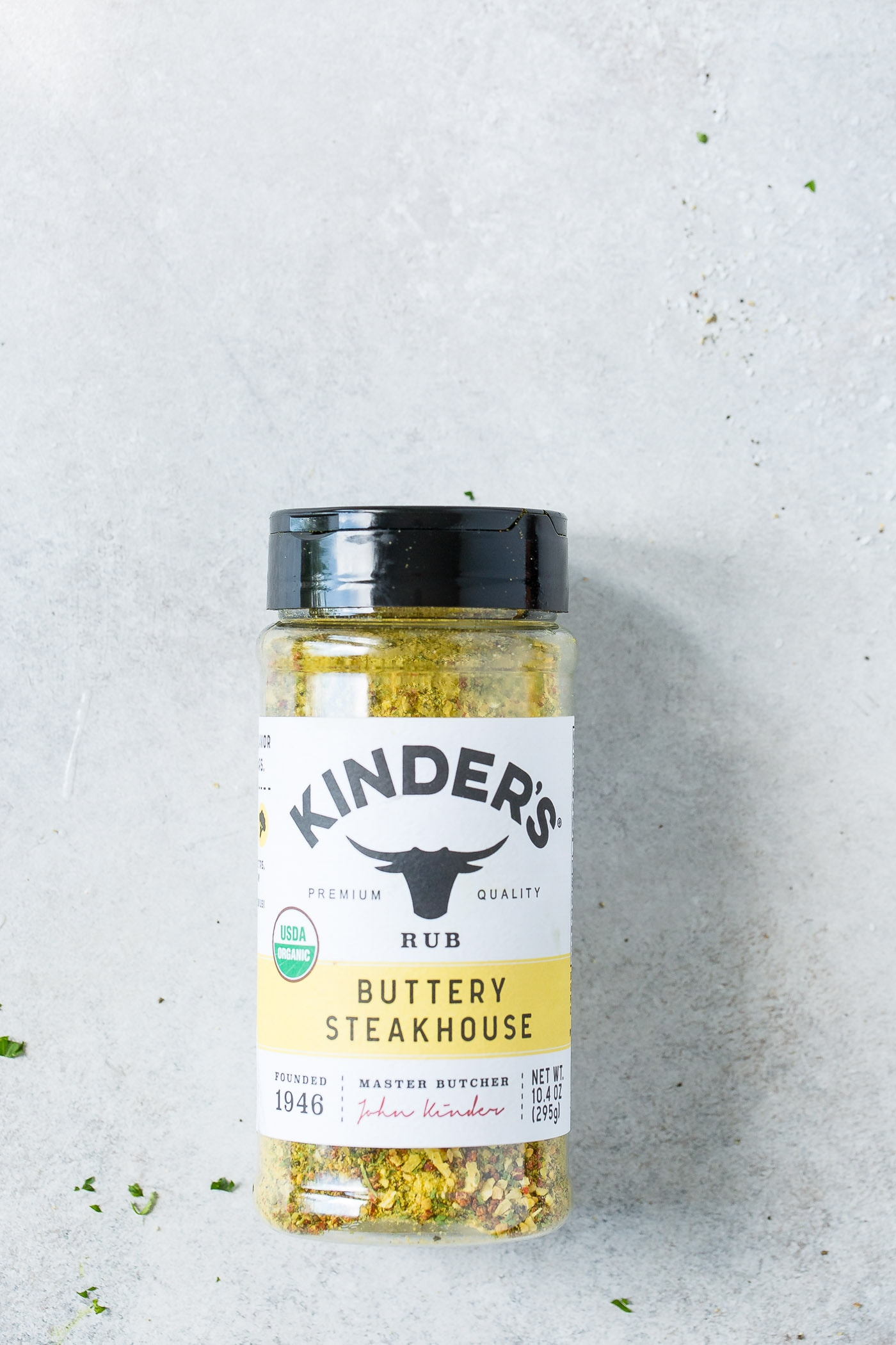 a photo of a container of Kinder's Buttery Steakhouse rub sitting on the counter