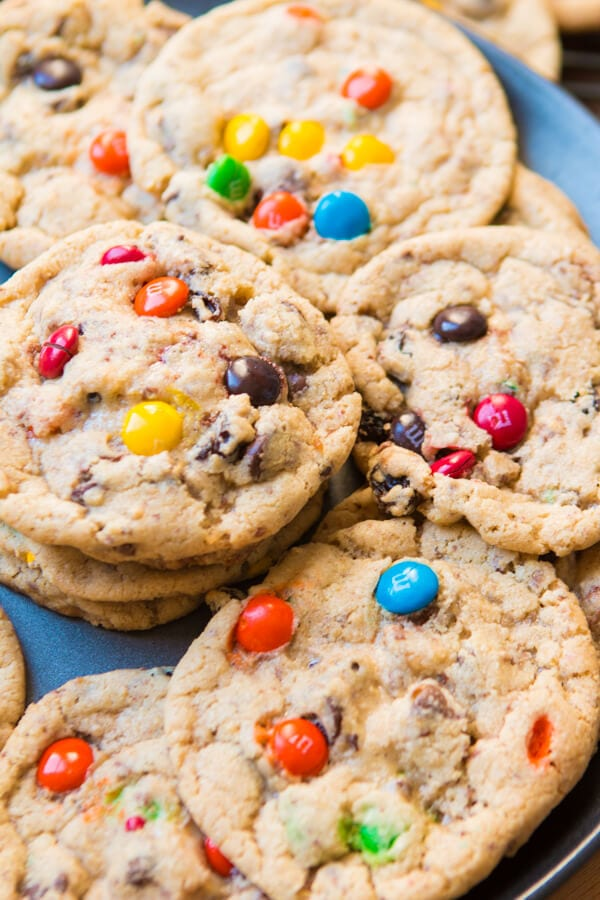 pile of Kitchen Sink Cookies on blue plate