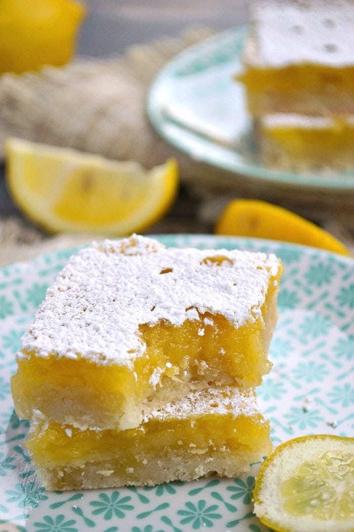 There's nothing like the fresh spring taste of Gluten Free Lemon Bars! They're the perfect party treat with a whole lot of sweet and a little punch of lemony tartness.