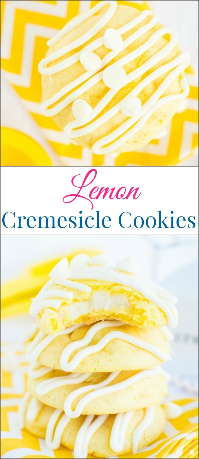 Soft and chewy lemon cremesicle cookies stuffed with a sweet, tangy cream cheese filling and drizzled in white chocolate! ohsweetbasil.com