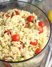 Lemon Orzo Pasta Salad - an easy pasta salad with fresh basil, tomatoes, cannellini beans, and almonds.