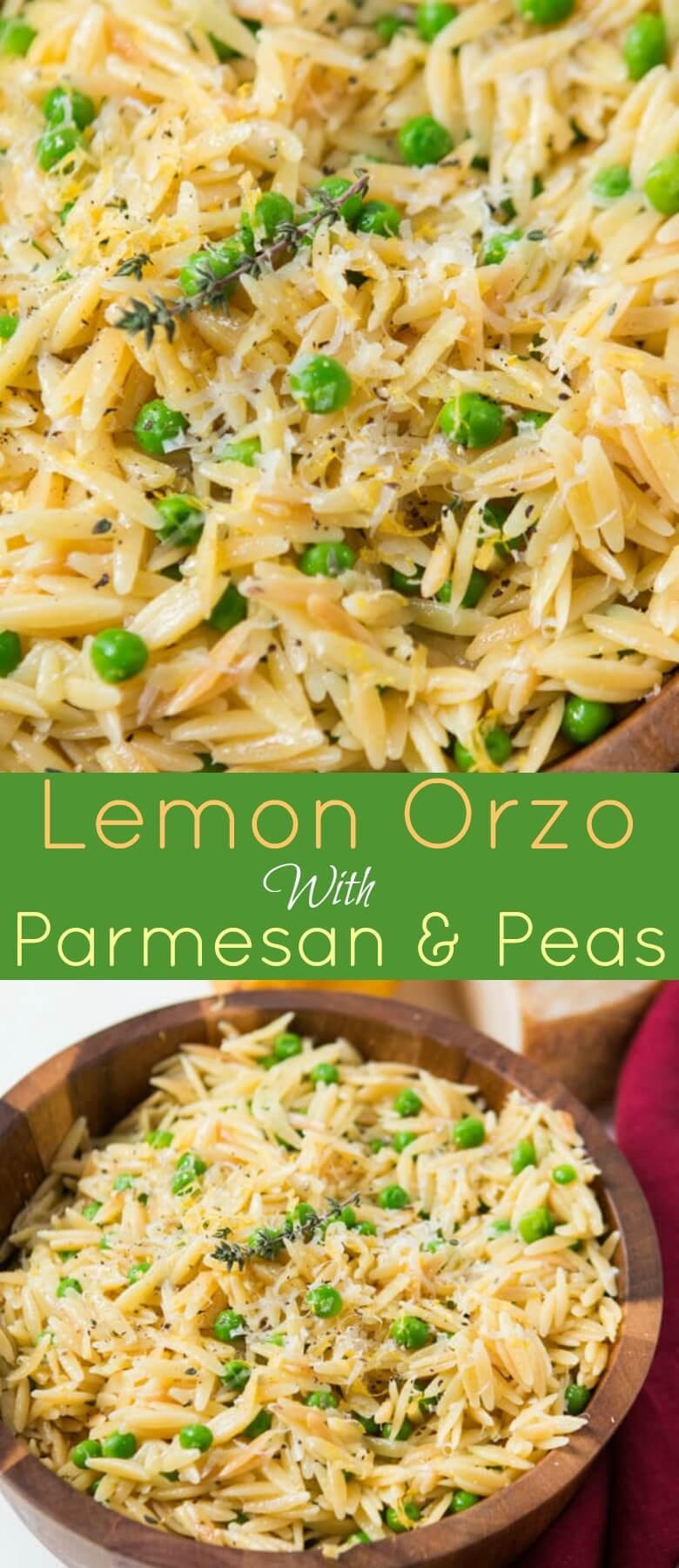 photo collage - Delicious lemon orzo with parmesan and peas in a wooden bowl.