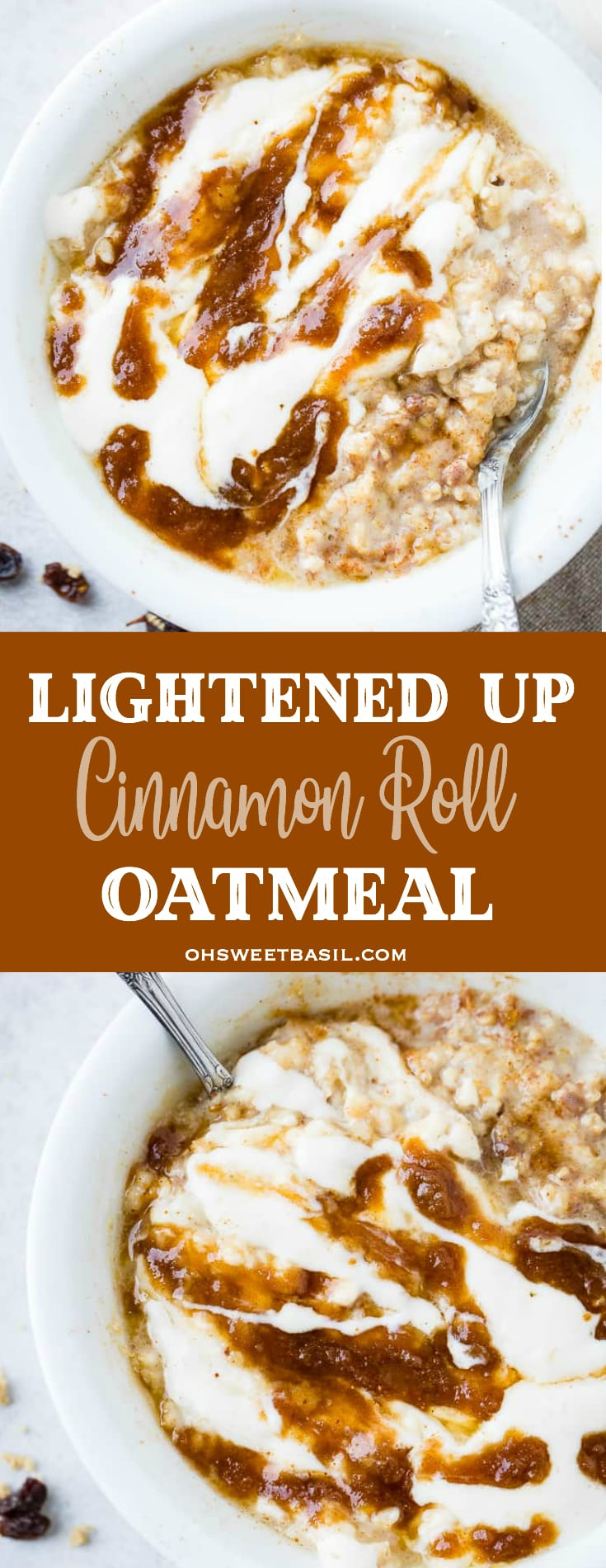 a bowl of lightened up cinnamon roll oatmeal with brown sugar, cinnamon and raisins sprinkled around it and a cinnamon filling with a cinnamon roll glaze drizzled over the top