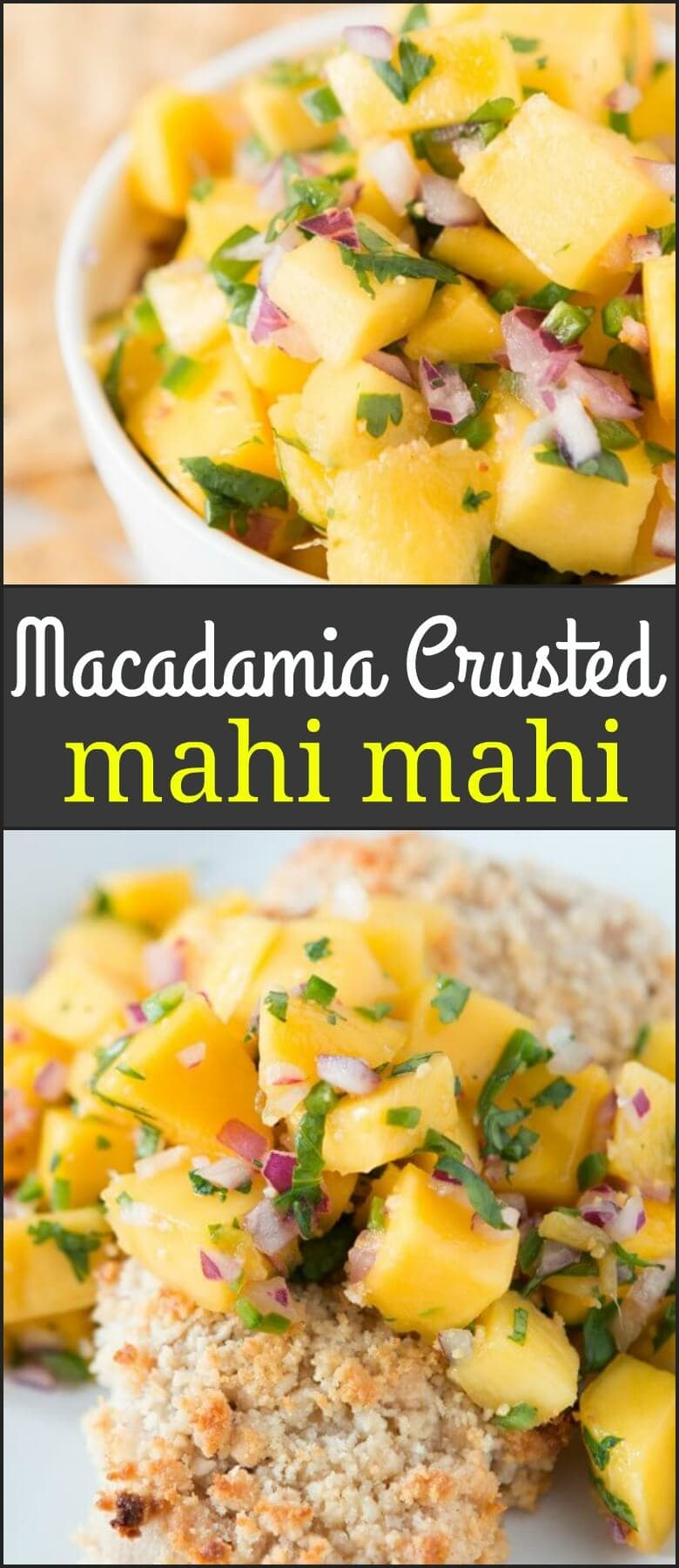 We may not being going to Hawaii this month but at least we can make this delicious macadamia crusted mahi mahi with mango salsa! ohsweetbasil.com