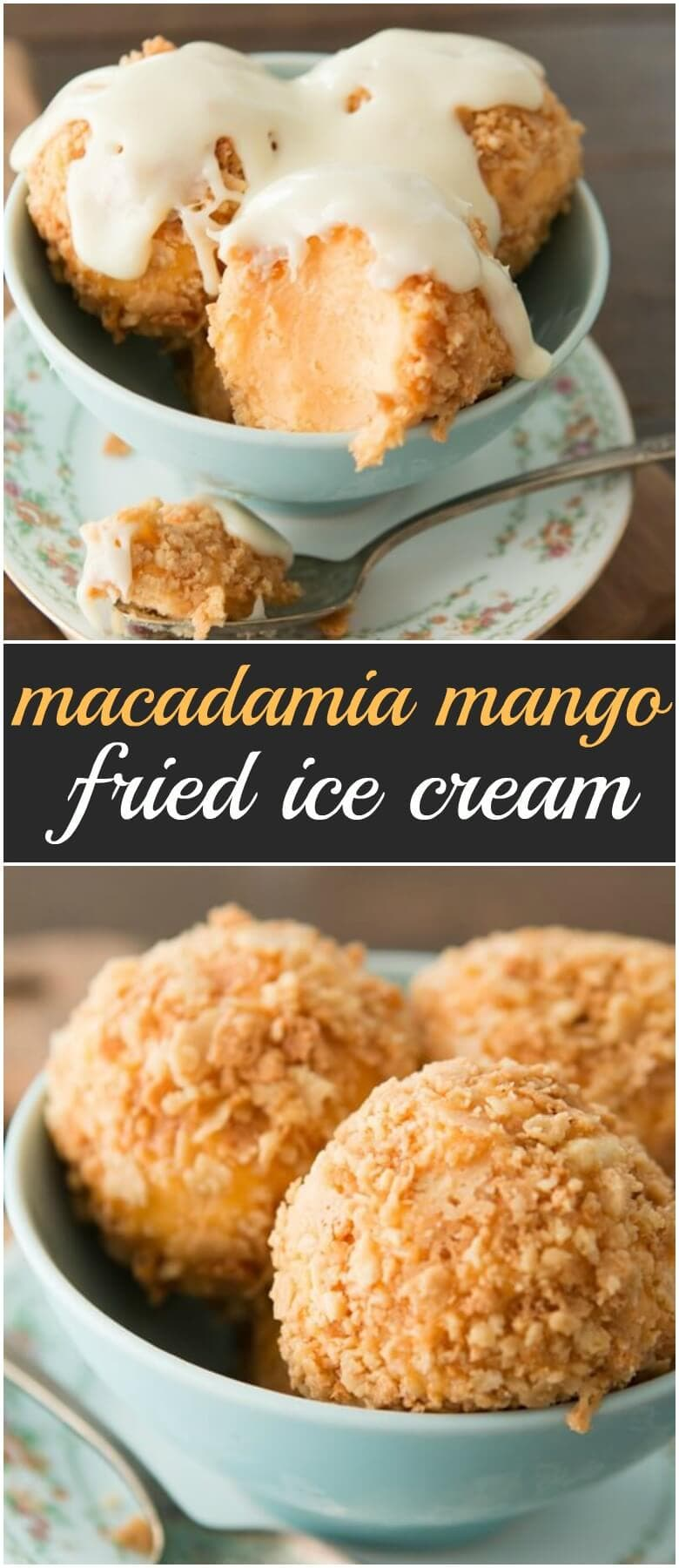 Tropical mango fried ice cream with a macadamia crust and white chocolate coconut sauce ohsweetbasil.com