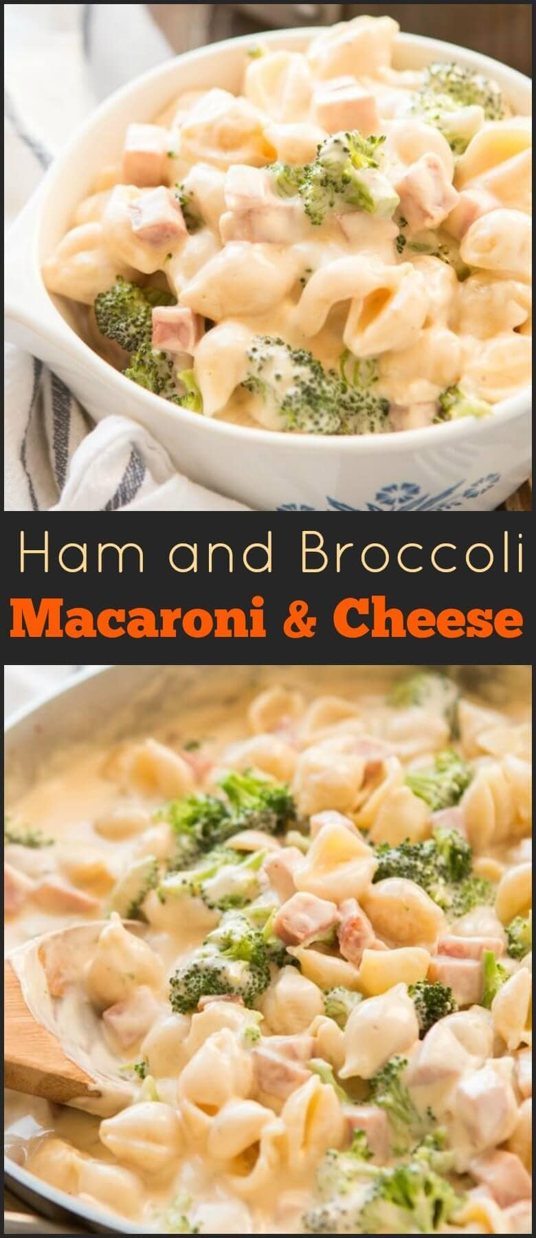 Our ham and broccoli macaroni and cheese is one of our favorite meals to make. It's the side and main dish (the ham) brought together!