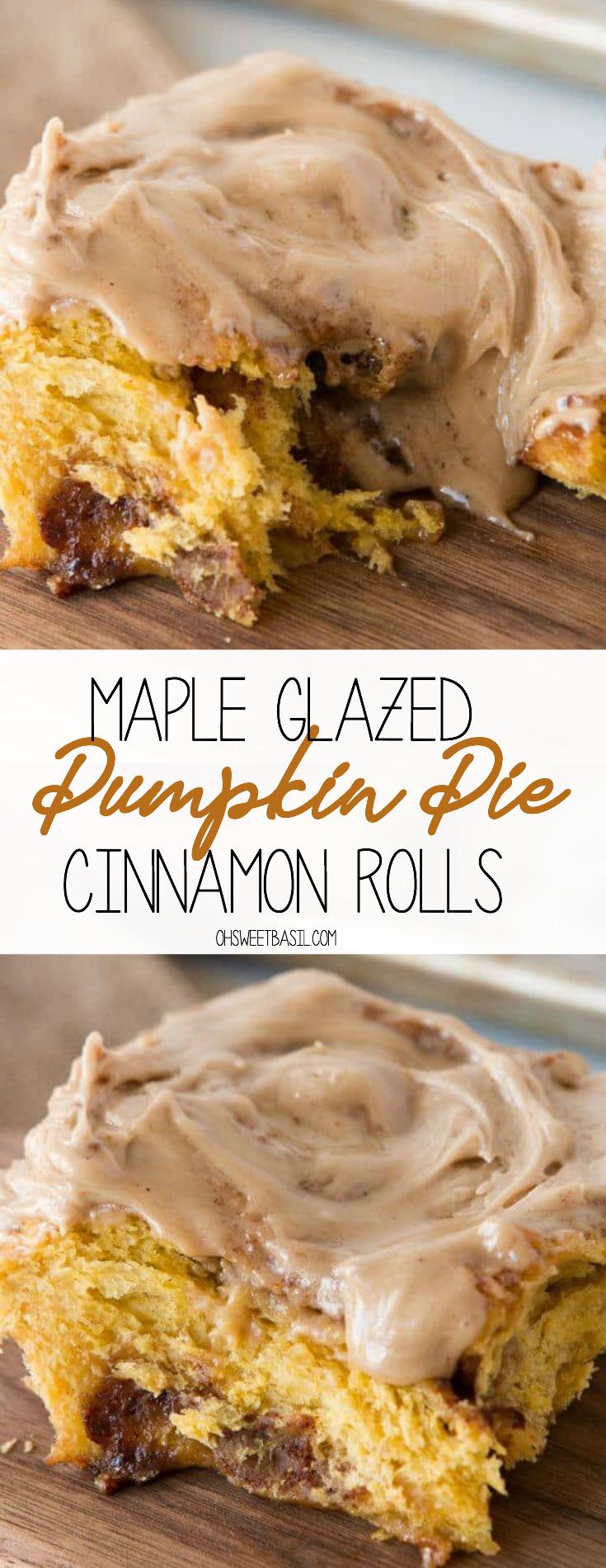 A maple glazed pumpkin pie cinnamon roll with a bite taken out of it