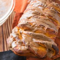 This stuff is amazing. We are switching up our traditions and making maple glazed pumpkin pull apart bread for holiday breakfasts because it's that good!