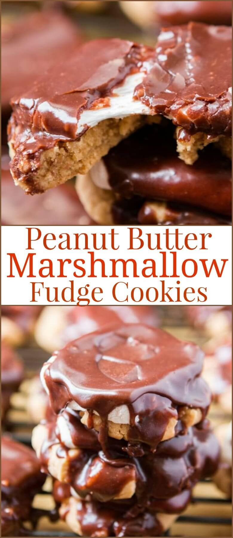 Soft and chewy peanut butter fudge cookies are wonderful but turn them into peanut butter marshmallow fudge cookies and it's pure heaven for dessert! ohsweetbasil.com