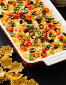 Whether it's football game day in the fall or winter, there's nothing better than wandering over to the food table and finding the best Mexican 7 layer dip. It's the best I've ever had!