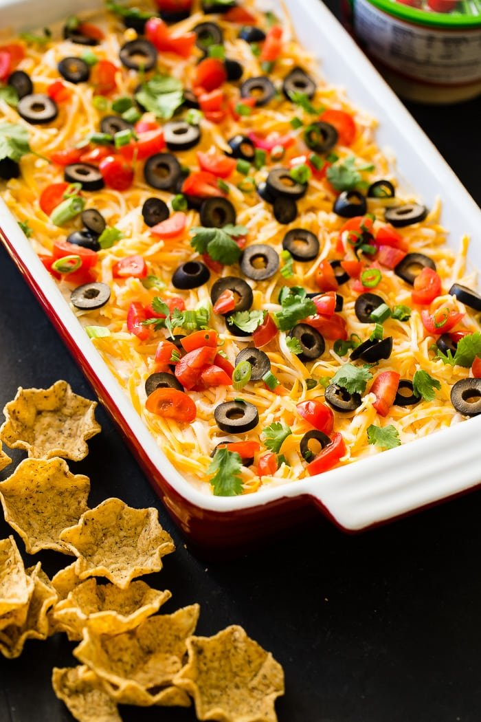 Whether it's football game day in the fall or winter, there's nothing better than wandering over to the food table and finding the better Mexican 7 layer dip. It's the best I've ever had! ohsweetbasil.com