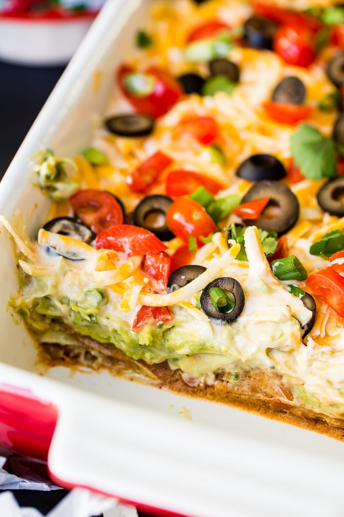 Whether it's football game day in the fall or winter, there's nothing better than wandering over to the food table and finding the better Mexican 7 layer dip. It's the best I've ever had!