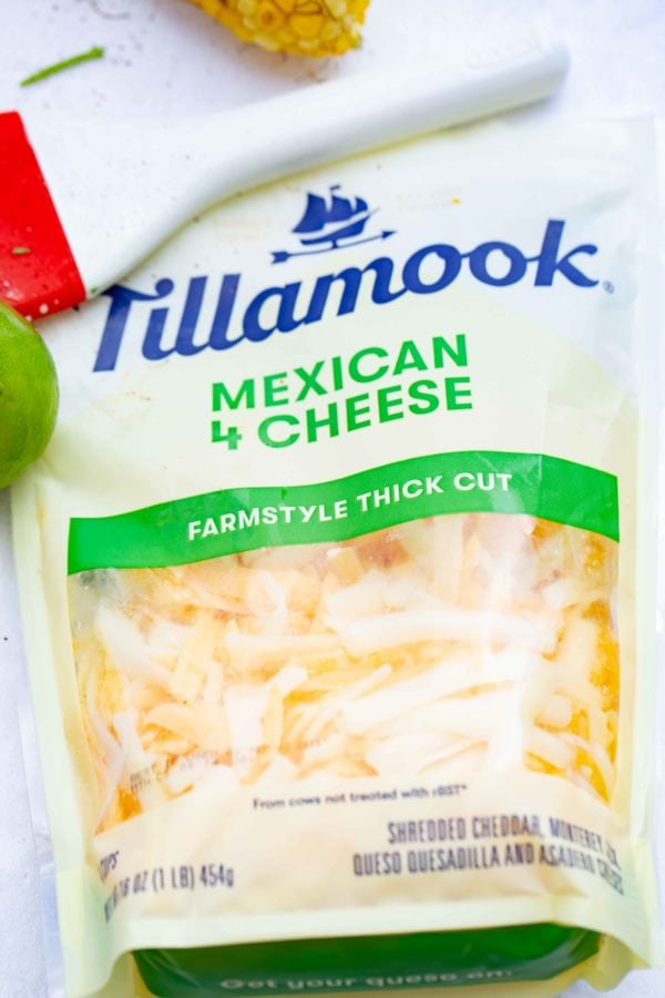 A photo of a bag of Tillamook Mexican 4 Cheese blend.