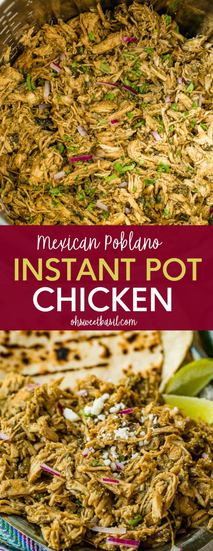 an instant pot full of shredded Mexican Poblano Instant Pot Chicken with a sprinkle of chopped cilantro over the top.