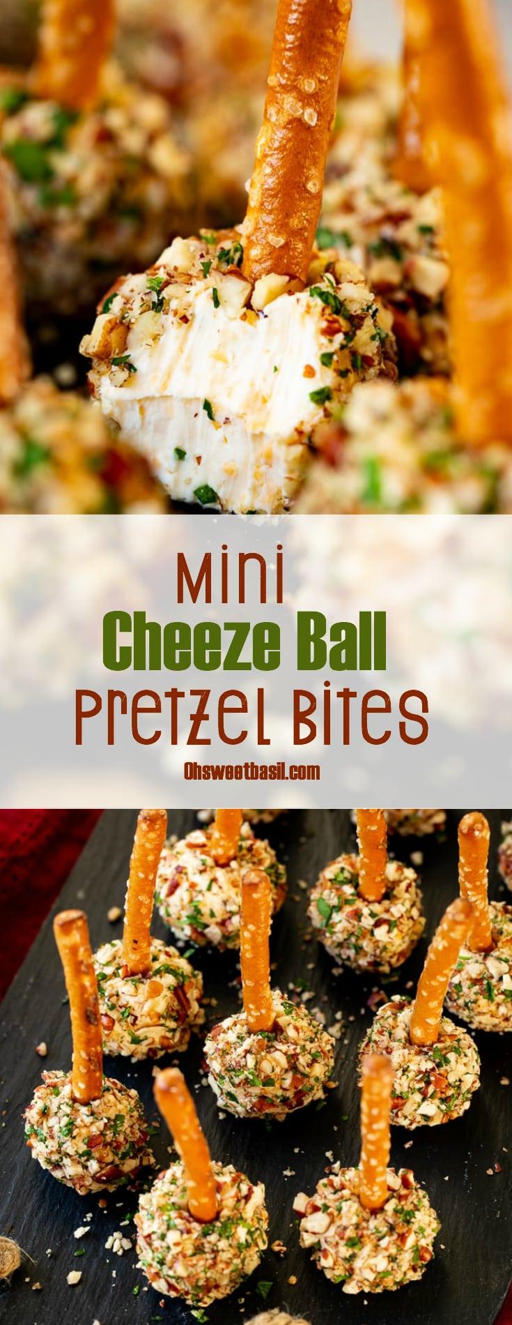 mini cheese ball bites with pretzel sticks