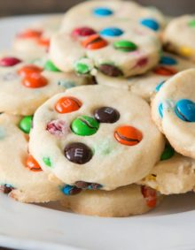 Buttery shortbread m&m cookies! We love making these cookies for school lunches, picnics at the park, or lazy Sunday afternoons! ohsweetbasil.com