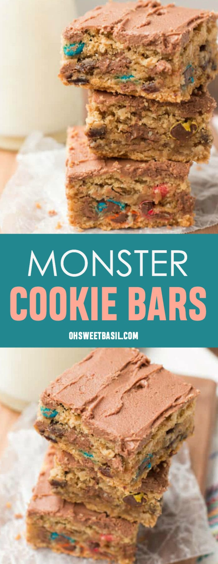 A stack of the best Monster Cookie Bars with M&M's and chocolate frosting