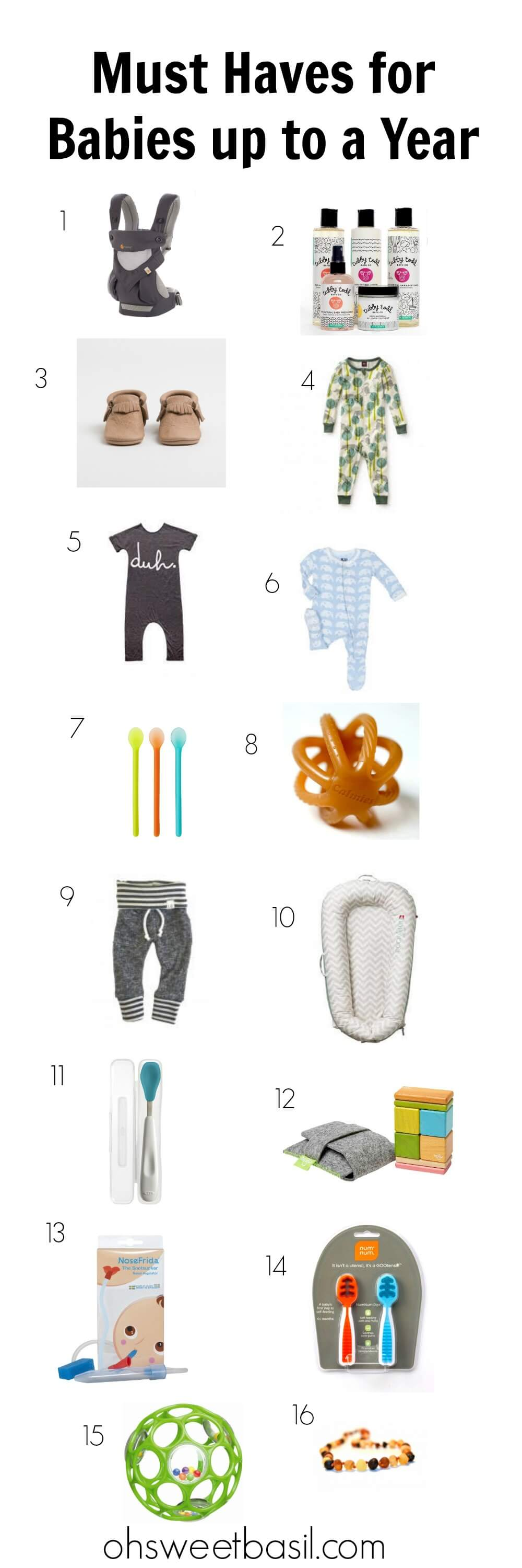 Must Haves for Baby up to 1 year ohsweetbasil.com