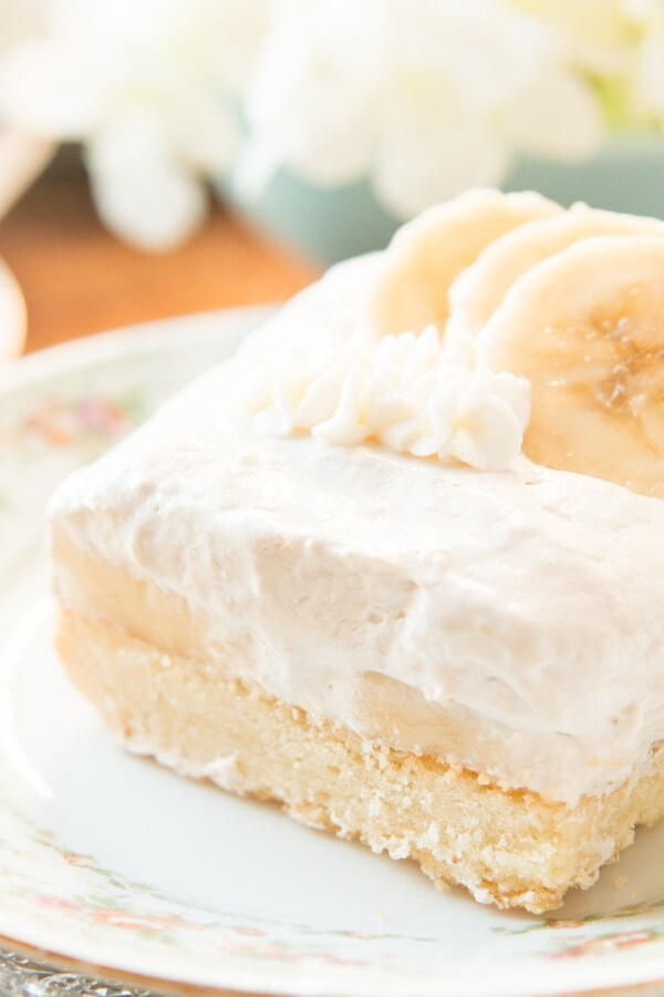 Totally from scratch these banana cream tart bars are the perfect dessert for something light and simple plus lovely for parties ohsweetbasil.com