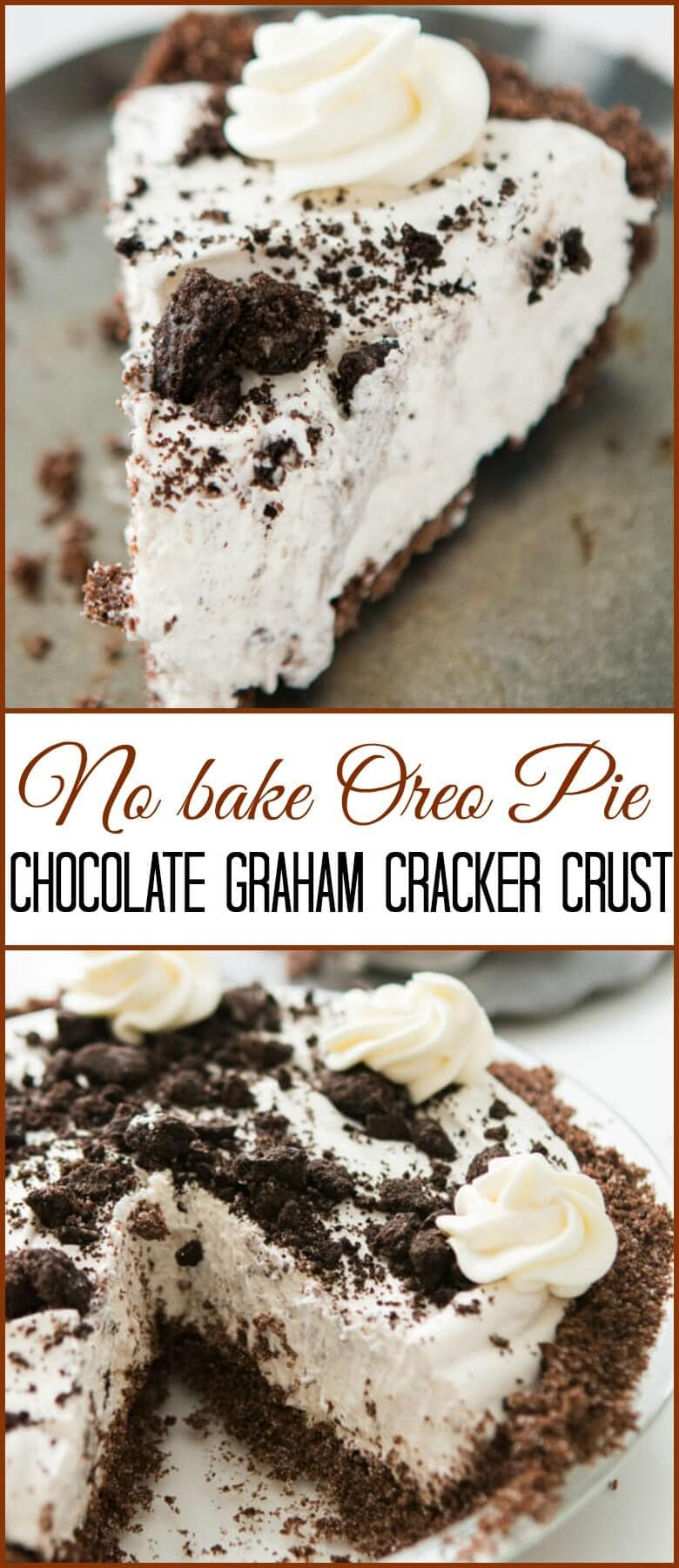 This is one of our most popular pie recipes and it's an easy pie recipe! Who wants a slice of no bake oreo pie with chocolate graham cracker crust?! ohsweetasil.com