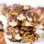 When you bite into one of these no bake s'mores bars you will instantly fall in love. They're made with marshmallows, milk chocolate, heavy cream and golden grahams. Just 4 easy ingredients to pull this summer dessert recipe off!