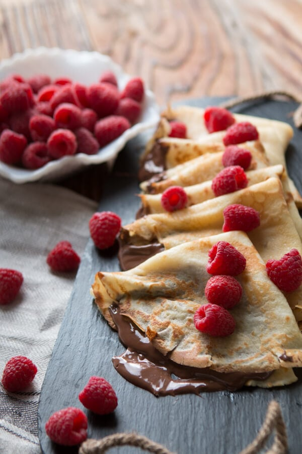 Nutella Crepes ohsweetbasil.com French breakfast, hazlenut, raspberry