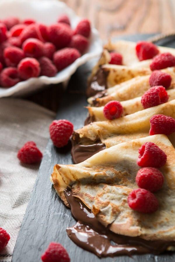 Nutella Crepes ohsweetbasil.com French breakfast, hazlenut, raspberry