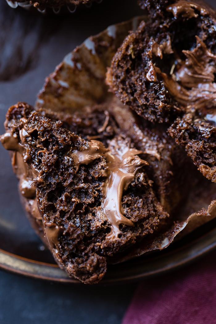 Nutella Stuffed Double Chocolate Banana Muffins