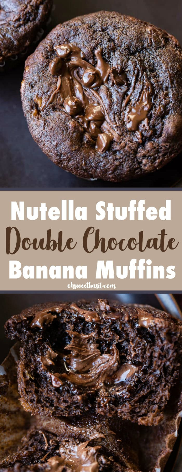 a nutella stuffed double chocolate banana muffin cut in half