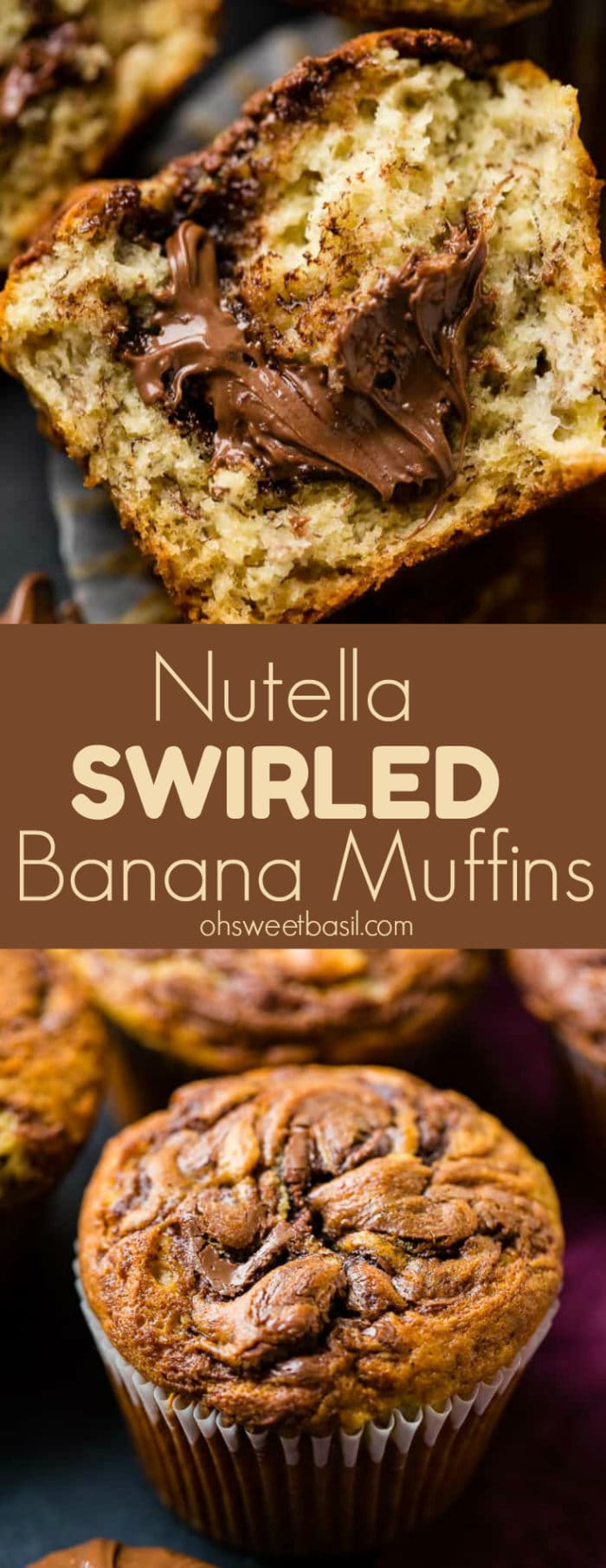 A photograph of a nutella swirled banana muffin with nutella oozing out and more muffins in the background