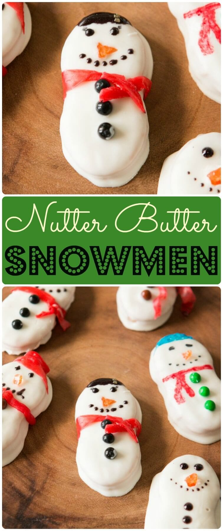 The kids loving making these nutter butter snowmen every year! ohsweetbasil.com