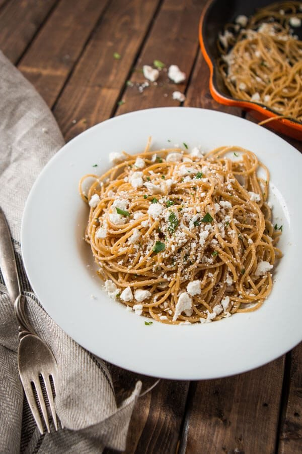 The name might be long and boring but the recipe isn't! It's a quick and easy Old Spaghetti Factory Mizithra Cheese and Browned Butter Spaghetti Copycat! ohsweetbasil.com