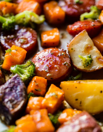 What is an easy one pan recipe? It's not what you think, it's one pan honey garlic kielbasa with potatoes and broccoli! It's way easier than chicken or shrimp!