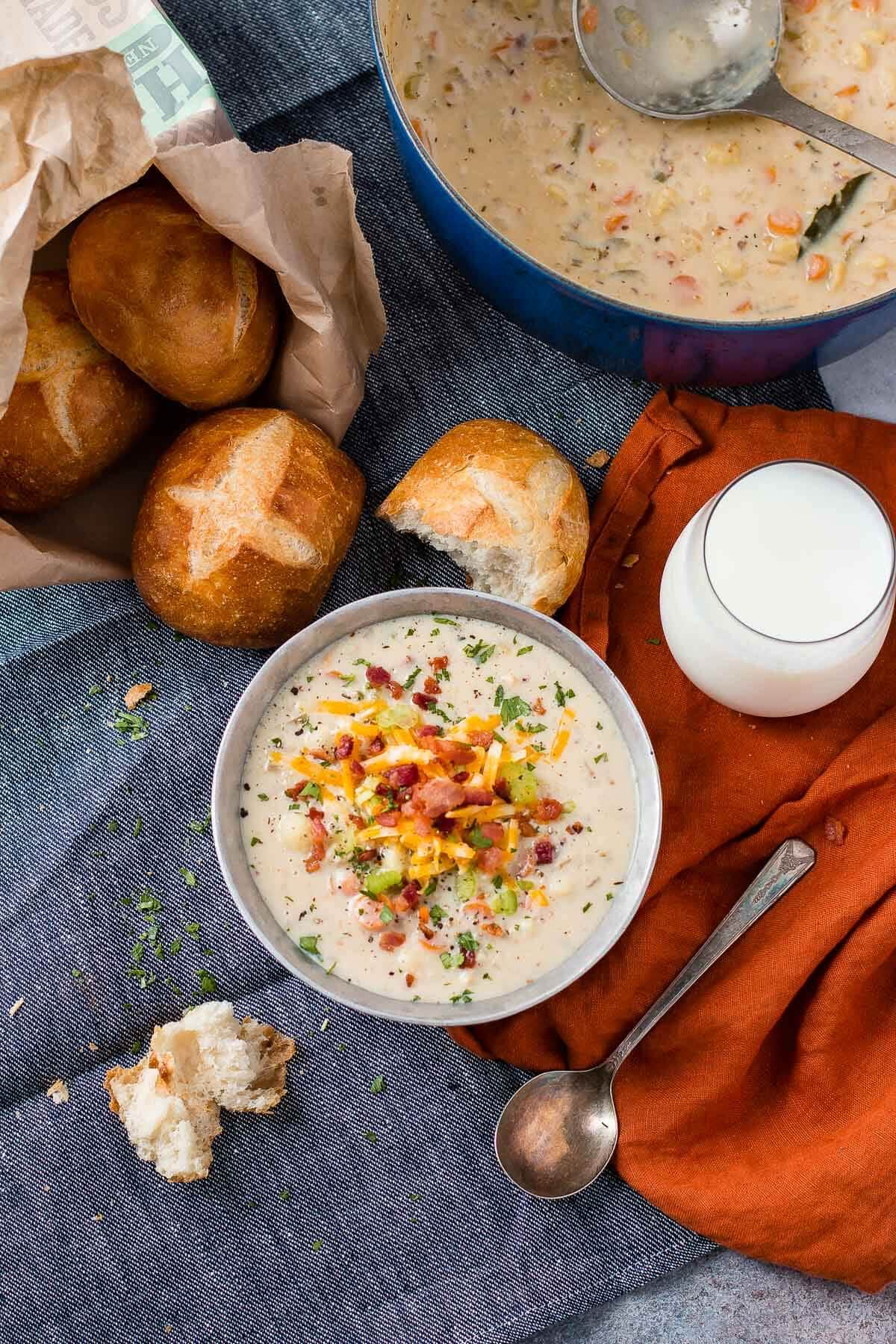 Serve one pot cauliflower chowder with chewy, fresh baked rolls and make sure you add a tall glass of cold milk ohsweetbasil.com