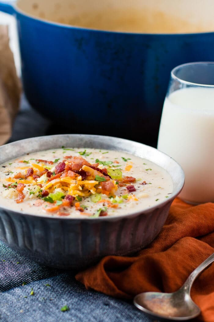 This roasted cauliflower soup with carrots, celery, bacon and cheese is exactly what your picky eaters need, it tastes just like potato soup! ohsweetbasil.com
