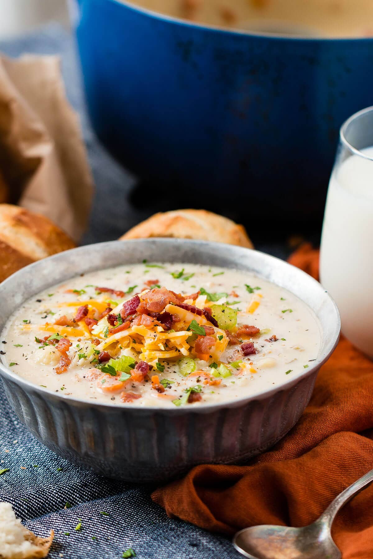 Looking for the perfect fall soup but trying to eat better too? This one pot cauliflower chowder tastes like potato soup, but it's even healthier! ohsweetbasil.com
