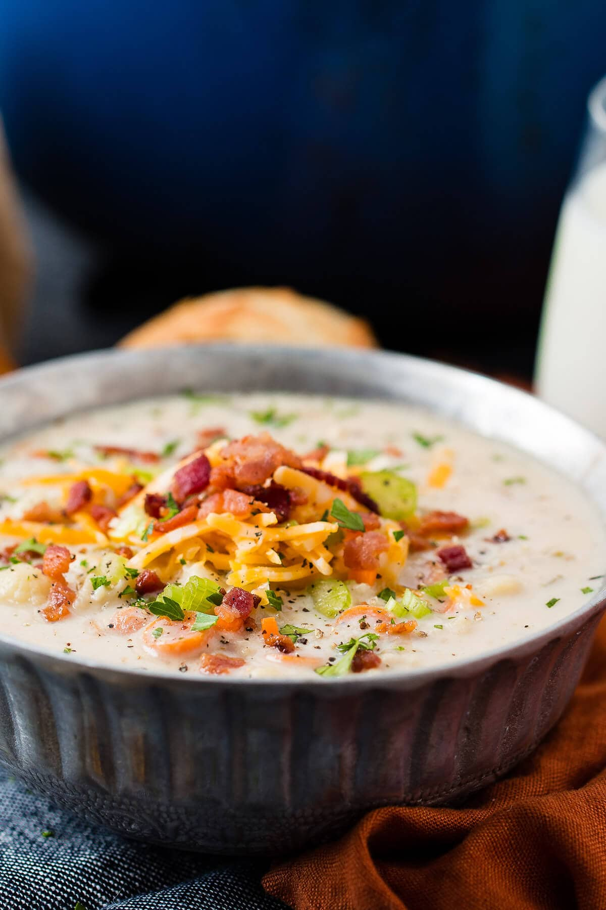 One Pot Cauliflower Chowder is the recipe I've been looking for to make a quick and healthy dinner! ohsweetbasil.com