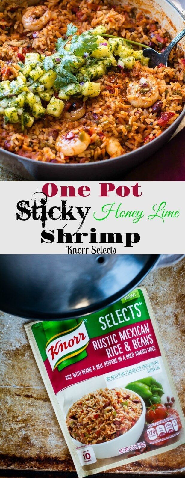 Love our sticky honey lime grilled chicken? This one pot sticky honey lime shrimp with pineapple chimichurri took me only 20 minutes and might be even better! One pot full of spicy Mexican rice, peppers, beans and shrimp all topped off with the yummiest honey lime sauce and pineapple chimichurri ohsweetbasil.com