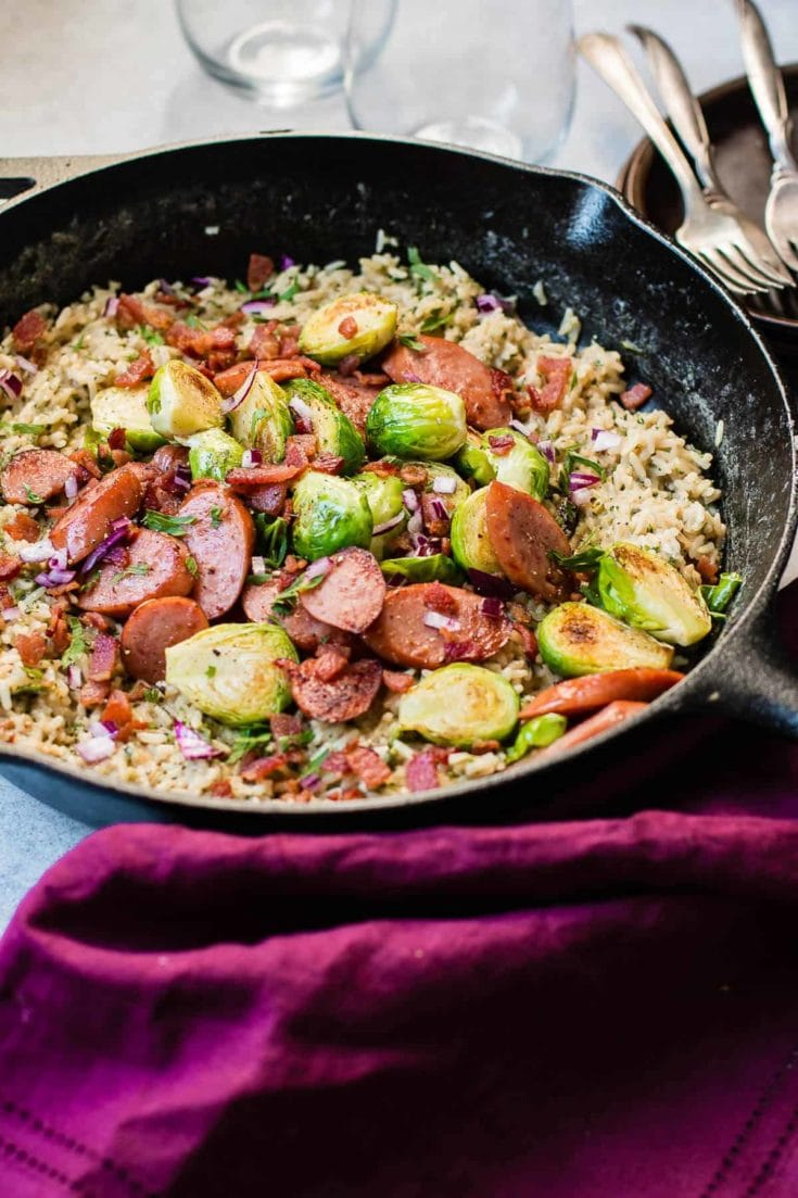 One Skillet Cheddar Broccoli Rice with Kielbasa