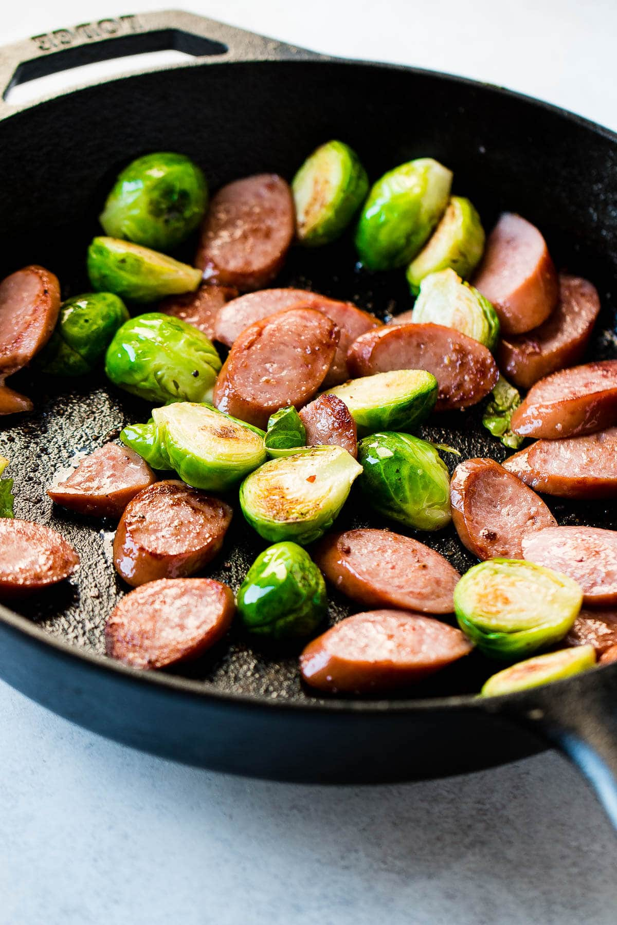 Brussels Sprouts and kielbasa are such an easy and perfect combination. ohsweetbasil.com