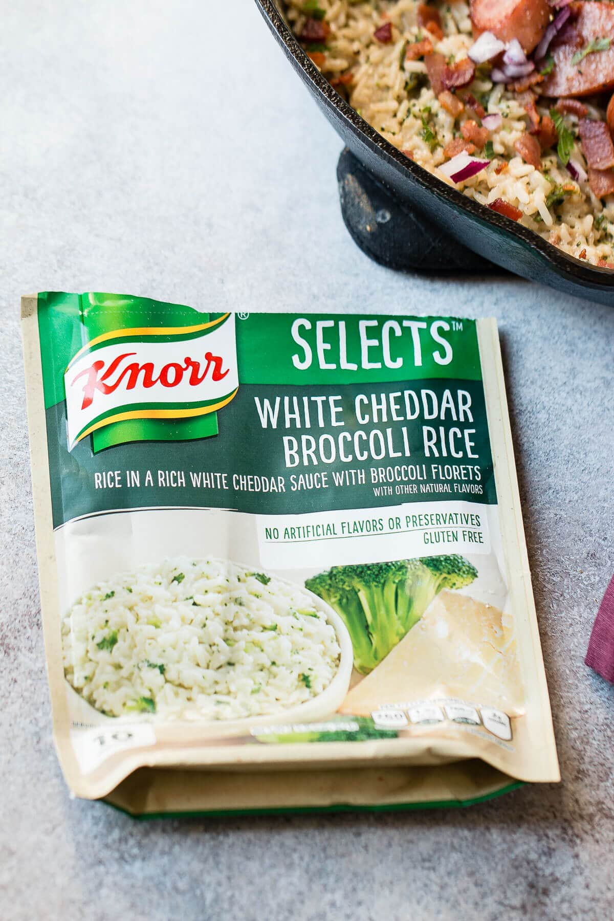 Knorr selects white cheddar broccoli rice was perfect for our kielbasa one skillet dinner! ohsweetbasil.com