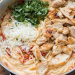 All you need is one skillet, a few fresh ingredients and soon enough you'll have 20 minute creamy sun dried tomato chicken pasta for dinner. ohsweetbasil.com